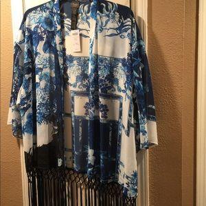 BNWT chicos kimono with fun fringe xl